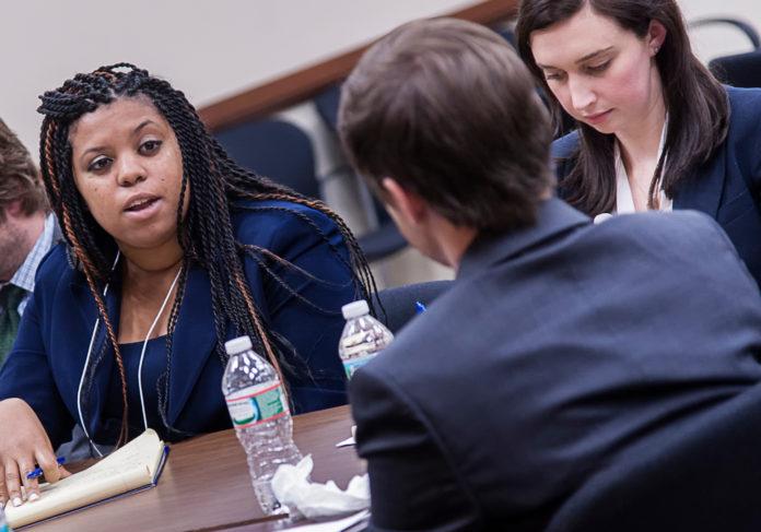 TRIAL RUN: Stesha Emmanuel, left, attorney for LeClairRyan of Boston,