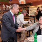 "MEET AND GREET: Mayor-elect Jorge Elorza shakes hands with Zita Bolton at LaSalle Bakery the day after winning his race against Vincent A. ""Buddy"" Cianci Jr. / PBN PHOTO/ MICHAEL SALERNO"