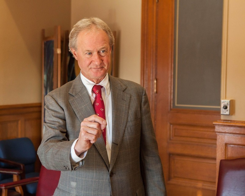 GOV. LINCOLN Chafee said that a state-appointed lawyer, Robert Flanders, and the receiver for the Central Coventry Fire District, Steven Hartford, filed a petition in Federal Bankruptcy Court to start Chapter 9 restructuring proceedings for the Central Coventry Fire District. / PBN FILE PHOTO/TRACY JENKINS