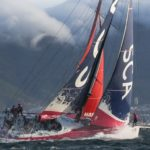 STRONG WINDS: The SCA team battles rough conditions in the Volvo Ocean Race this past November near Cape Town, South Africa. / COURTESY VOLVO OCEAN RACE/CHARLIE SHOEMAKER