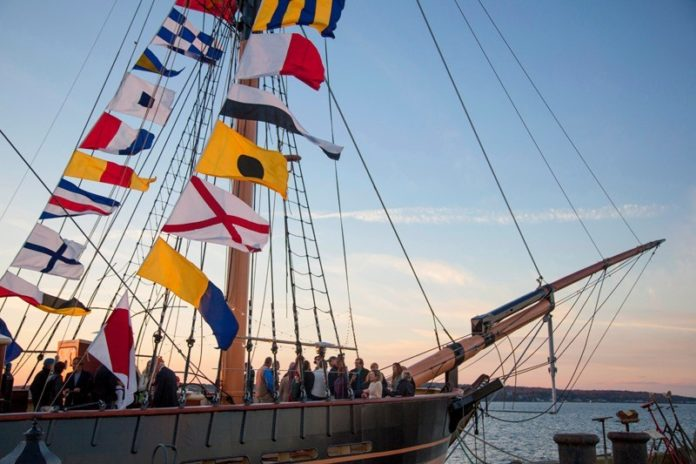 SAIL MOVES: A reception onboard the SSV Oliver Hazard Perry in late September 2014. More than 58 companies to date have participated in the construction of the tall ship, which will begin its programs in the spring. / COURTESY MEDIA PRO INTERNATIONAL