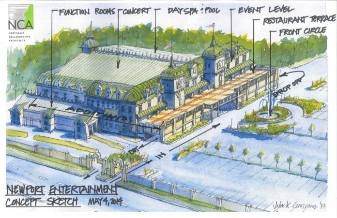 LOCAL DEVELOPER JOSEPH R. PAOLINO JR. says that he has an agreement with Newport Grand owner Diane Hurley to purchase the Newport gaming facility. In May, Paolino, along with Peter de Savary and Paul Roiff proposed buying Newport Grand and sinking roughly $40 million into it to upgrade its appearance and entertainment offerings. / COURTESY NORTHEAST COLLABORATIVE ARCHITECTS