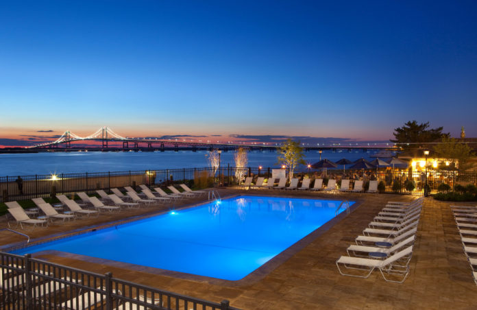 THE HYATT REGENCY NEWPORT has a clear view of the harbor and the Pell Bridge to Jamestown, one of the many qualities of the city's hotels that helped it rank No. 17 on Trivago.com's list of the Top 50 Cities to Stay in the United States. / COURTESY JOHN BELLENIS
