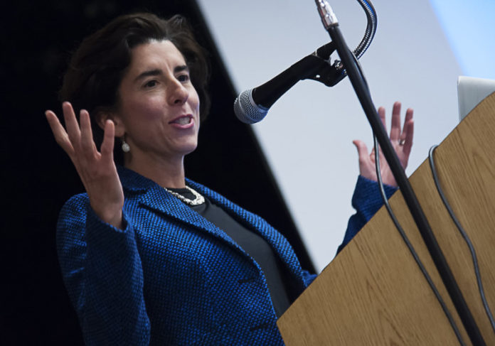 Governor Gina Raimondo addressing a crowd at URI. PBN FILE PHOTO/ MICHAEL SALERNO / PBN PHOTO/ MICHAEL SALERNO