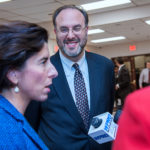 STEFAN PRYOR, center, the newly confirmed commerce secretary, has announced two new appointments for the R.I. Commerce Corporation, as Gov. Gina M. Raimondo, left, prepared the introduction for her first budget to the General Assembly with the next month. / PBN FILE PHOTO/MICHAEL SALERNO