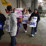 UNIFIED APPROACH: Nurses participate at an informational picket outside Women & Infants Hospital in Providence. The District 1199 Service Employees International Union says the hospital is hiring traveler nurses at a time when local candidates are seeking jobs. / COURTESY SEIU