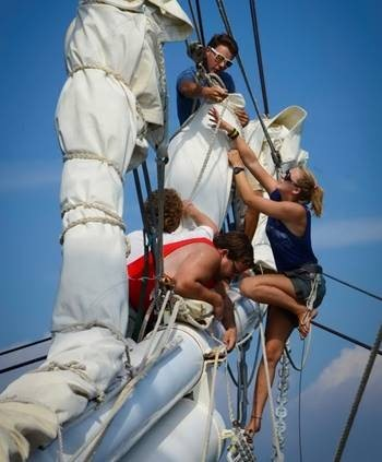 ANNA SPRING, right, a Rogers High School student, participated in the Oliver Hazard Perry Rhode Island teen camp aboard the Tall Ship Mystic in 2014. A $36,400 grant from the van Beuren Charitable Foundation is supporting a pilot program for the school that will culminate in an Oliver Hazard Perry tall ship voyage in August. / COURTESY AL WEEMS