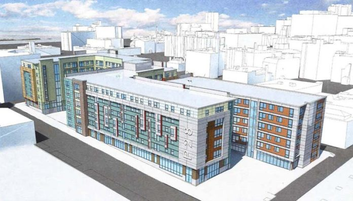 Under review: A rendering of a $50 million student-housing development on Richmond Street proposed by Dallas-based ?Phoenix Property Co. The project would occupy a full block in walking distance to a proposed ballpark. / COURTESY PHOENIX PROPERTY CO.