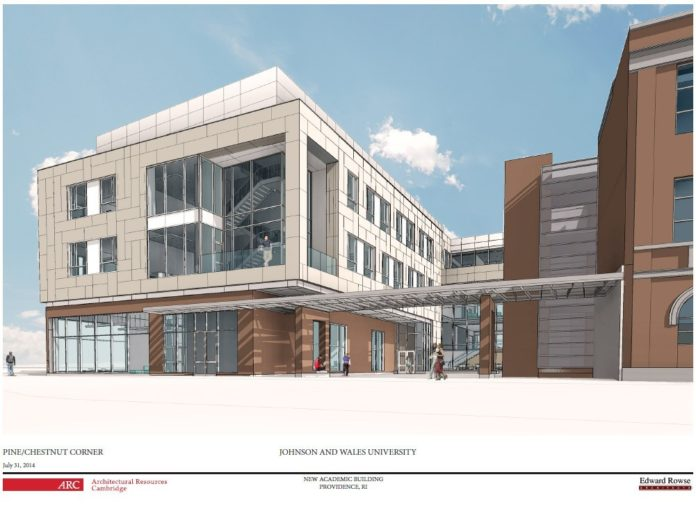 A NEW $40 MILLION academic building is being planned by Johnson & Wales University in Providence's Jewelry District. A ceremonial groundbreaking is scheduled for Wednesday. / COURTESY JOHNSON & WALES UNIVERSITY