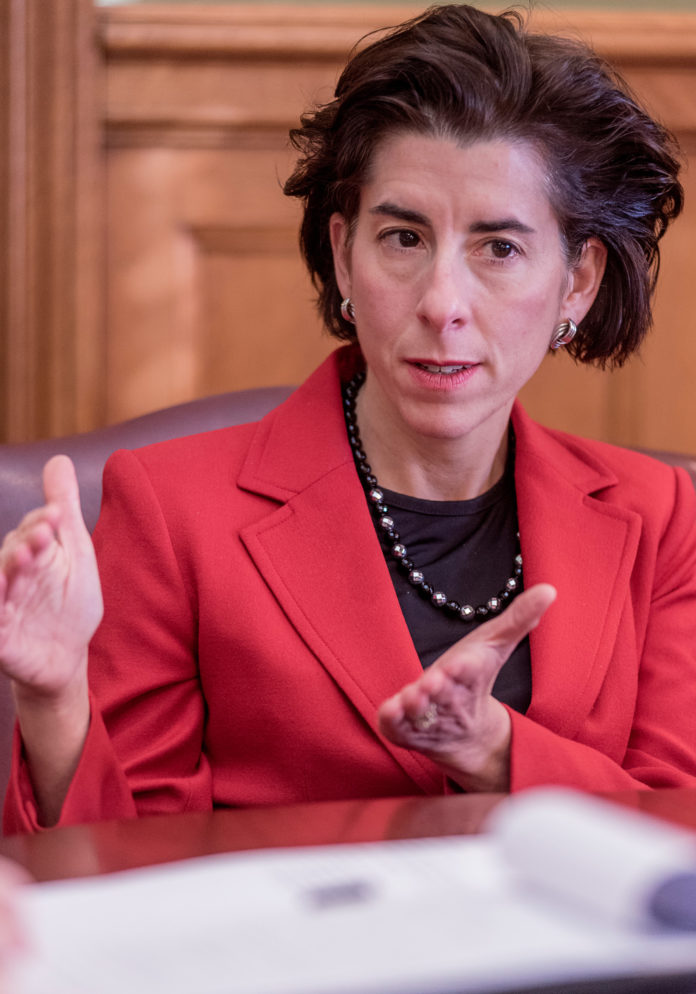 GOV. GINA M. RAIMONDO on Thursday said a majority of public-employee unions have approved a pension settlement. / PBN FILE PHOTO/MICHAEL SALERNO