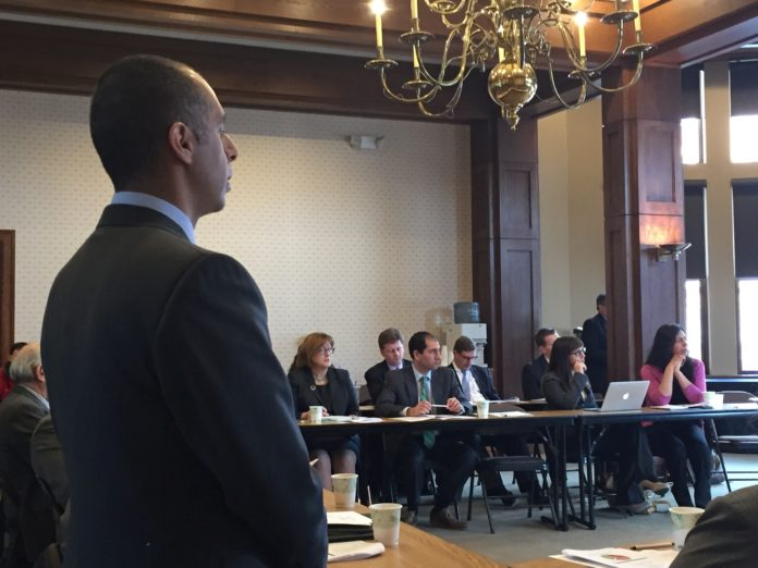 PROVIDENCE MAYOR JORGE O. Elorza addresses the Steering Committee on Thursday. The committee will assist an economic consulting firm in conducting research for the city. He asked the committee to imagine what could be accomplished if everyone pulls together. / PBN PHOTO/ELI SHERMAN