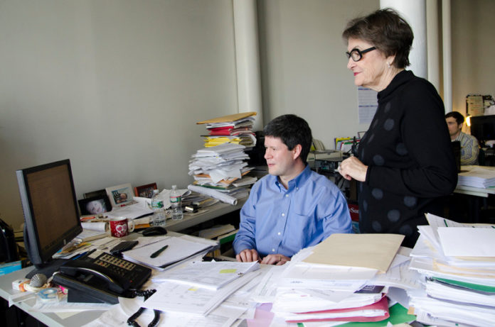 PLANNING AHEAD: Barbara Sokoloff, right, says that a passion she had for community planning drove her as she grew her consultancy business in the 1980s. Also pictured is Managing Associate Derek Farias. / PBN PHOTO/JAIME LOWE