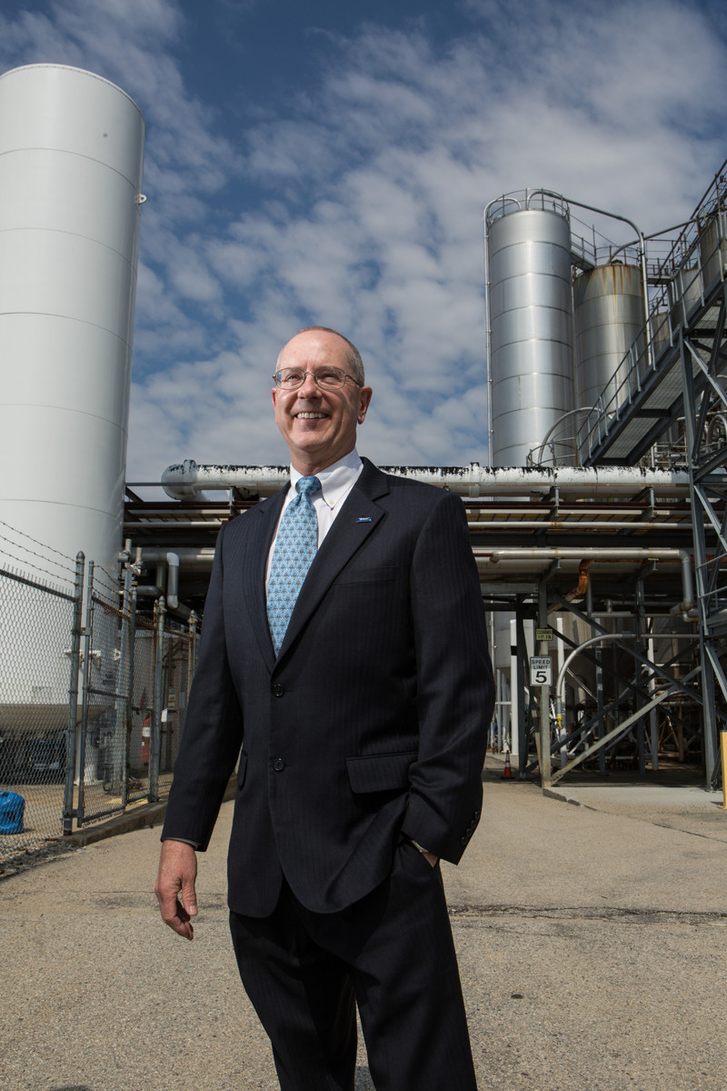 After nearly 20 years with Toray, Michael Brandmeier took the reins at its North Kingstown facility last summer. Its leading position in the market is the result of technological innovation, but as Brandmeier notes, a healthy dose of optimism helped. / PBN PHOTO/RUPERT WHITELEY
