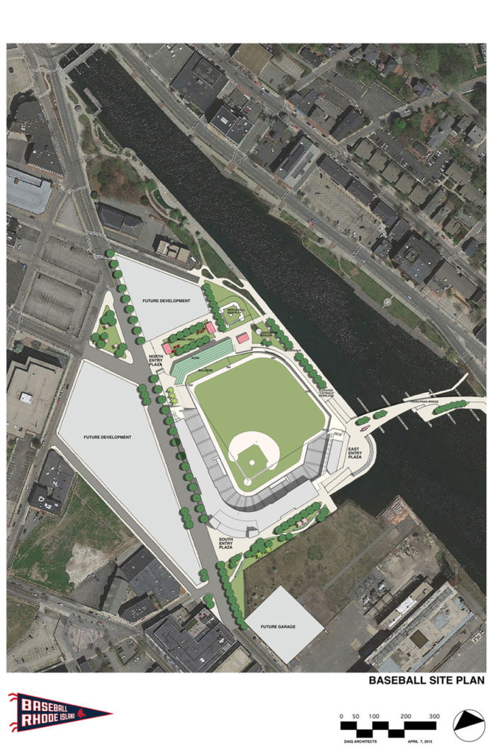 A SITE PLAN FOR THE new Pawtucket Red Sox stadium being proposed for downtown Providence, which would include a significant portion of the land opened for development by the relocation of Interstate 195. / COURTESY DAIQ & POPULOUS