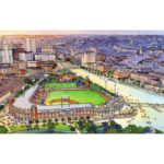 AN AERIAL VIEW OF THE proposed Pawtucket Red Sox stadium for downtown Providence at night. / COURTESY PAWTUCKET RED SOX