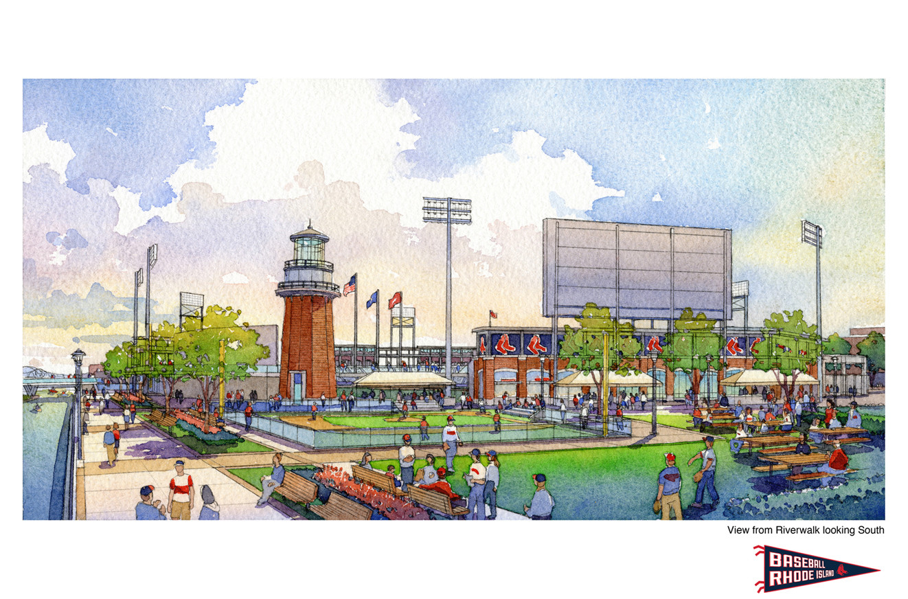 A VIEW OF WHAT the development around the proposed AAA baseball stadium on the former I-195 land in Providence would look like. / COURTESY DAIQ AND POPULOUS