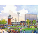 WHILE THE VAST MAJORITY of the site for the Pawtucket Red Sox' proposed new Providence stadium is dedicated to the team, there will be green space set aside for community use, according to the team. / COURTESY PBC ASSOCIATES