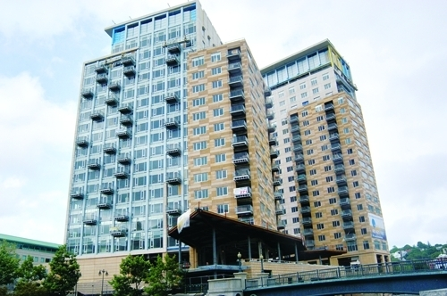 Condo sales rose across Rhode Island in November. Shown above, the Waterplace Condominiums in downtown Providence./COURTESY THE WATERPLACE CONDOMINIUMS