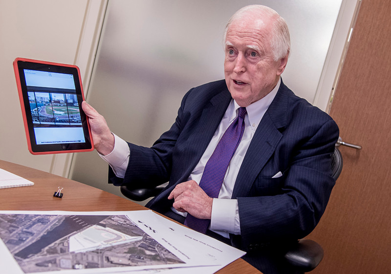 JAMES J. SKEFFINGTON makes a point during a discussion about the Pawtucket Red Sox plans to build a new stadium in Providence. Funeral services for the long-time Rhode Island power broker are scheduled for Saturday. / PBN FILE PHOTO/MICHAEL SALERNO