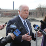 ATTORNEY JAMES J. Skeffington, the new team president of the Pawtucket Red Sox, died Sunday, his spokeswoman confirmed. Skeffington is seen in this file photo from April telling reporters about the plan to move the AAA baseball team to Providence. / PBN FILE PHOTO/MARY MACDONALD