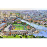 AN AERIAL VIEW OF THE proposed Pawtucket Red Sox stadium in downtown Providence. / COURTESY DAIQ AND POPULOUS