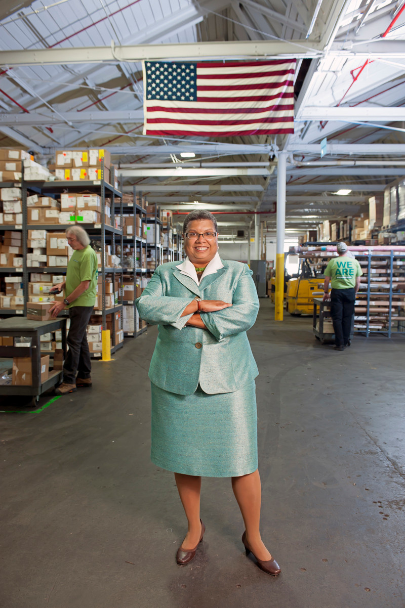 CHERYL W. SNEAD, founder, CEO and president of Banneker Industries Inc., a North Smithfield-based, integrated logistics and supply-chain management company, photographed in her headquarters building. / COURTESY BANNEKER INDUSTRIES