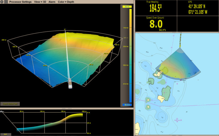 FARSOUNDER has received a national Tibbetts Award from the U.S. Small Business Administration for innovation. Pictured is a screenshot of URI's Cap'n Bert, outfitted with a FarSounder-1000 navigation sonar, while passing a very shallow rock outcropping. This was taken in Narragansett Bay, near the area called The Dumplings. The sonar data is shown as an overlay on a Jeppesen C-MAP professional chart. / COURTESY FARSOUNDER