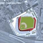 THE COLLECTION OF PROPERTIES that have been proposed as an alternative site for the Pawtucket Red Sox downtown baseball stadium, shown here in a schematic released in April by the owners of the properties, may be affected by the recent sale of the Tops Eletrical Supply block to 1145 Main Associates of Pawtucket. / COURTESY JAG INVESTMENT REALTY
