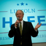 LINCOLN D. CHAFEE, former governor of Rhode Island, answers a question after announcing he will seek the Democratic presidential nomination at the George Mason University School of Policy, Government, and International Affairs in Arlington, Va. on June 3. / BLOOMBERG NEWS/ANDREW HARRER