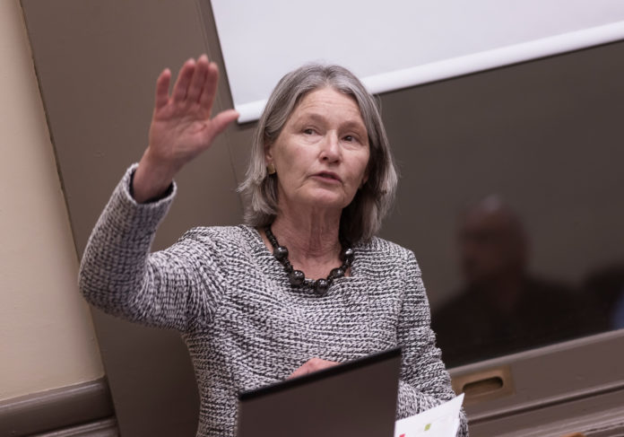 JAN BRODIE is resigning as executive director of the I-195 Redevelopment District Commission. She is seen during a presentation in March to the Providence City Council. / PBN PHOTO/MICHAEL SALERNO