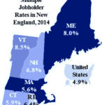 RHODE ISLAND had the fourth-highest multiple job holder rate at 6.4 percent among the New England states in 2014, according to the state Department of Labor and Training. / COURTESY R.I. DEPARTMENT OF LABOR AND TRAINING