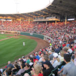 THE PAWTUCKET RED SOX play in their longtime home at McCoy Stadium in Pawtucket. The team's owners said that the governor has determined that the I-195 site on the Providence River is not suitable for construction of a new ballpark.   / COURTESY PAWTUCKET RED SOX