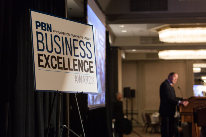 KEYNOTE SPEAKER David M. Dooley, president of the University of Rhode Island, addresses the attendees at Providence Business News' 15th Business Excellence Awards program Thursday at the Providence Marriott Downtown. / PBN PHOTO/RUPERT WHITELEY