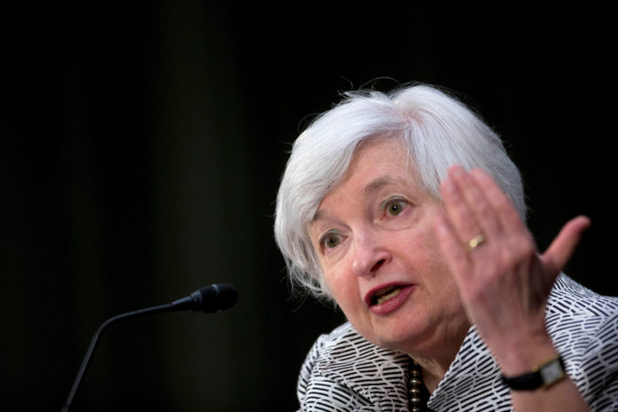 FEDERAL RESERVE Chair Janet Yellen said she is increasingly confident that the economy is growing sufficiently to achieve labor-market improvement and higher inflation. / BLOOMBERG NEWS FILE PHOTO/ANDREW HARRER