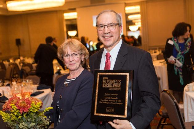 Business Leader honoree, David Devault, Washington Trust, with Lorraine Devault / Rupert Whiteley