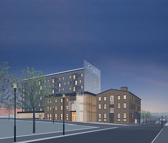 The I-195 Redevelopment District Commission has approved the design plan for a mixed-use development that will occupy a one-third acre parcel in the Fox Point neighborhood of Providence. / Courtesy KITE Architects Inc.