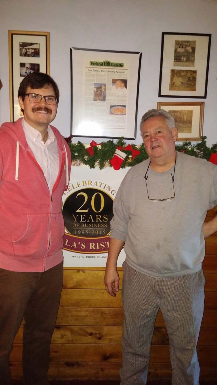 RUNS IN THE FAMILY: Chef Lou E. Perella, left, and his father, Lou Perella, are seen at Perella's restaurant in Warren, which celebrated its 20th anniversary. / COURTESY BRUCE NEWBURY