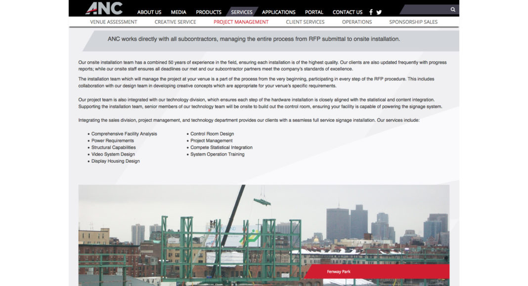One of the projects featured on the ANC is the installation of new signage at Fenway Park in Boston.