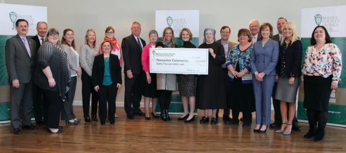 BRISTOL COUNTY SAVINGS BANK, through its charitable foundation, recently presented $80,000 in grants to 12 Pawtucket-area nonprofit organizations. / COURTESY BRISTOL COUNTY SAVINGS BANK