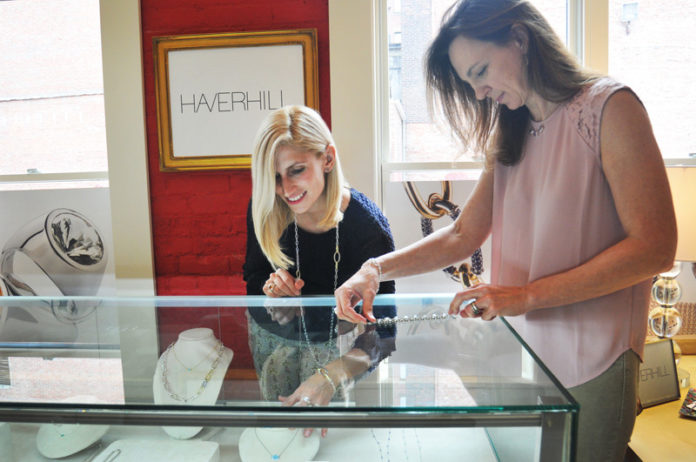 MADE TO WEAR: HAVERHILL Inc. co-founder Haverhill Leach, left, and CEO Alison Cariati target professional women who want high-quality pieces that are also affordable. / PBN PHOTO/FRANK MULLIN