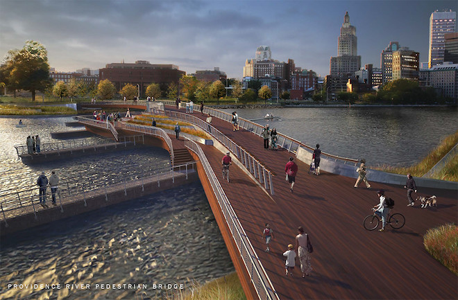 THE R.I. DEPARTMENT OF TRANSPORTATION has moved up the schedule for starting work on the proposed pedestrian bridge connecting the east and west sides of the Providence River in the city using the former piers of Interstate 195. If the schedule is adhered to, the bridge would open in early 2018. / COURTESY INFORM STUDIO