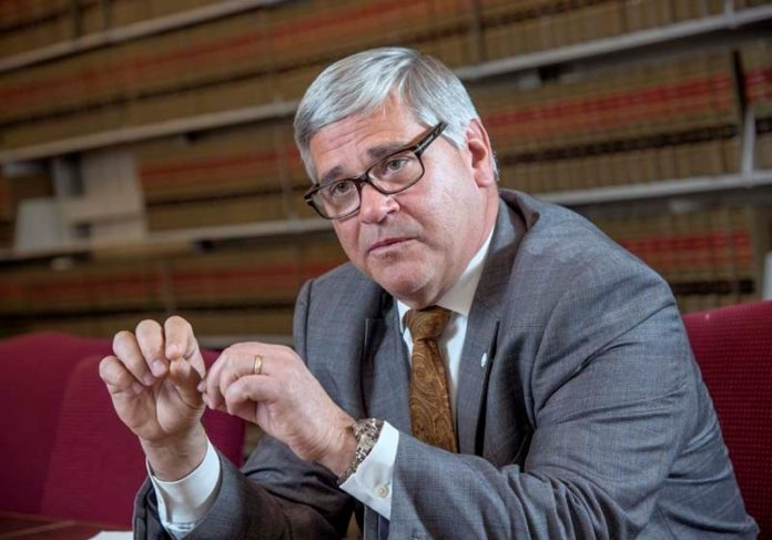 Moving Up: Rhode Island Attorney General Peter F. Kilmartin served as a local police officer and state lawmaker before his current post. / PBN PHOTO/ MICHAEL SALERNO