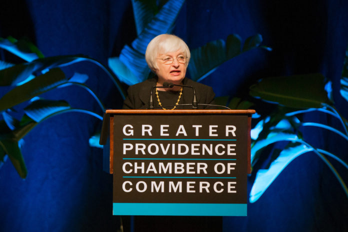 FEDERAL RESERVE Chair Janet L. Yellen said positive forces supporting U.S. job growth and higher inflation will still probably outweigh negative developments, calling additional gradual interest-rate increases appropriate without specifying their precise timing. She is shown in a file photograph from the Economic Outlook Luncheon last year put on by the Greater Providence Chamber of Commerce. / BLOOMBERG NEWS FILE/SCOTT EISEN
