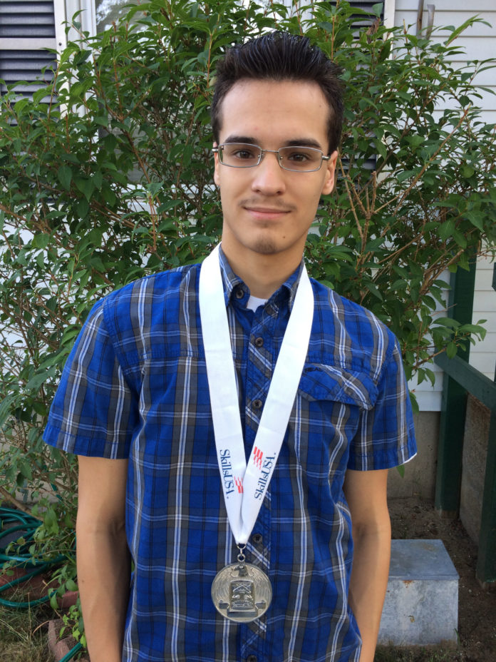 Jason Valdes, an 18-year-old from Warwick, represented the country in Compétences Québec/Skills Canada, an invitational Olympic-style competition and leadership program held from May 3-7 in Quebec City. He competed in the computer-aided design and drafting portion of the event. / COURTESY SKILLSUSA RI