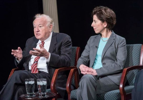 MAKING THE EFFORT: Former Gov. Edward D. DiPrete and Gov. Gina M. Raimondo both emphasized the important role that governors can play in advancing economic development.
