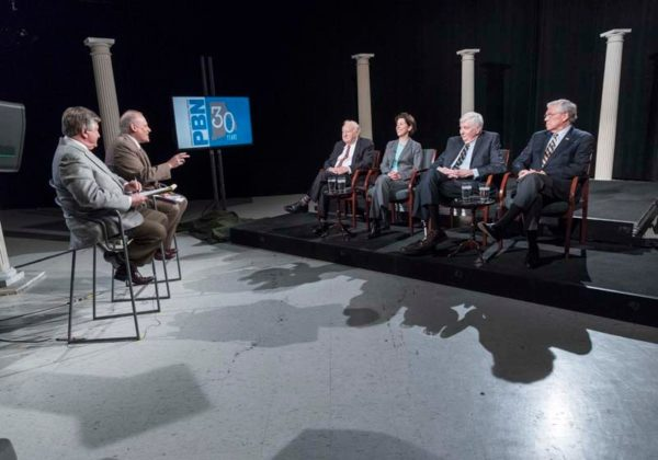AN HISTORIC MEETING: From their unique perspective, four of Rhode Island's six living governors hashed out a number of issues in a roundtable discussion moderated by WJAR-TV Anchor Frank Coletta, left, and PBN Editor Mark S. Murphy.