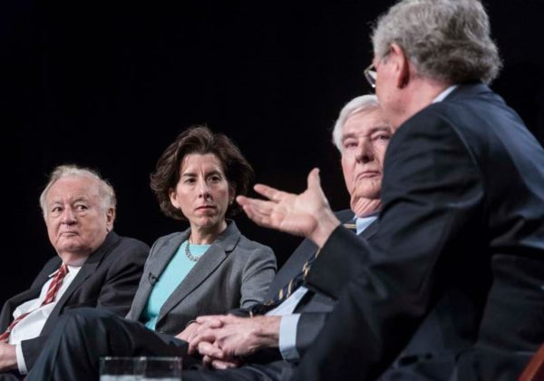"""TOO GENEROUS: Former Gov. Donald L. Carcieri, back to camera, says that state worker pensions were reformed because they were """"too generous."""" Listening are, from left, former Gov. Edward D. DiPrete, Gov. Gina M. Raimondo and former Gov. Lincoln C. Almond."""