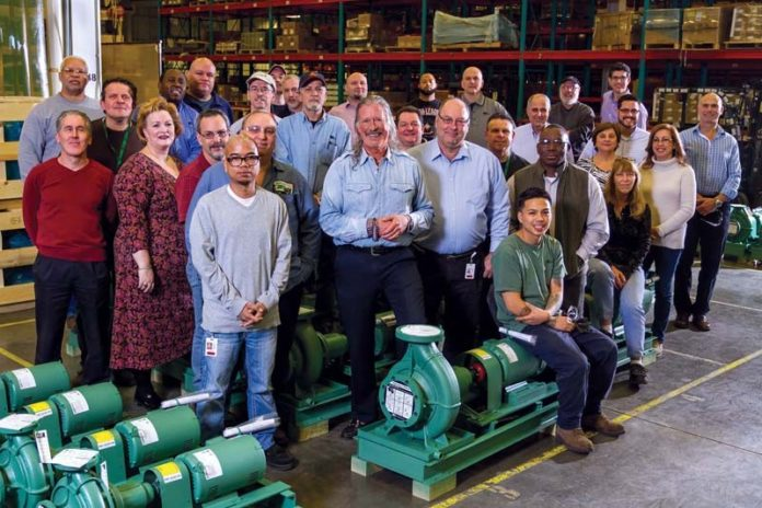 A FAMILY ATMOSPHERE: John Hazen White Jr., center, is the third generation of his family to lead Taco Comfort Solutions. The company provides supportive programs for workers. / COURTESY TACO COMFORT SOLUTIONS