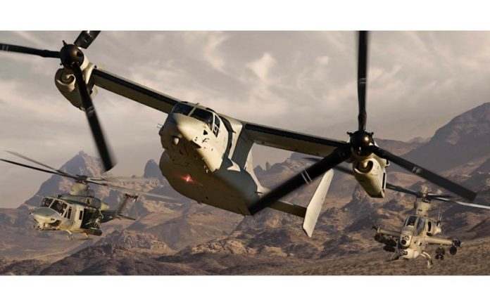 TEXTRON INC.'S revenue and profit increased in the second quarter, even though sales of the V-22 aircraft in the Bell Helicopter division were flat over the year. / COURTESY BELL HELICOPTER