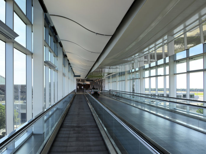 THE SKY BRIDGE at T.F. Green Airport is shown in this photograph. Passenger traffic increased 5.1 percent over the year in June at the airport. / COURTESY GETTY IMAGES